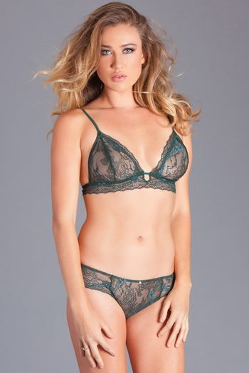 Hunter Green Lace Bra Set