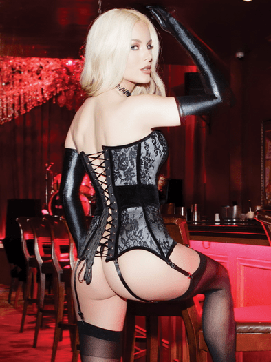 In Charge Metal Bone Lace Garter Corset