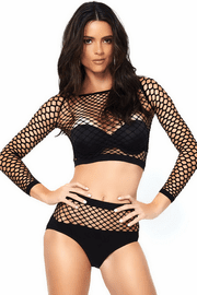 Industrial Net Crop Top Set