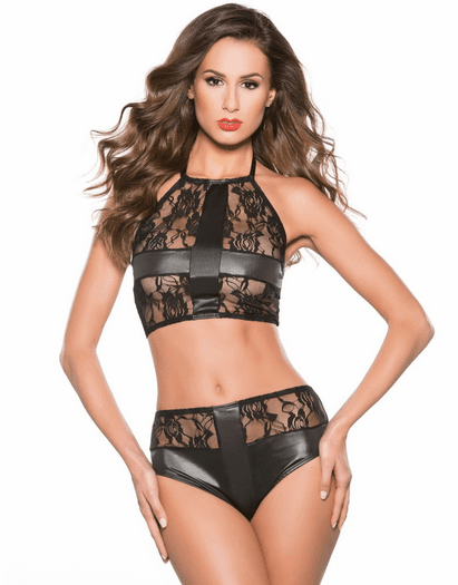Innocent Love Lace Halter Top And Short Set