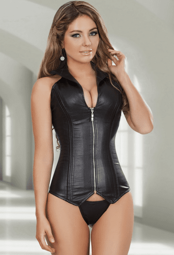Black Faux Leather Front Zipper Corset Top
