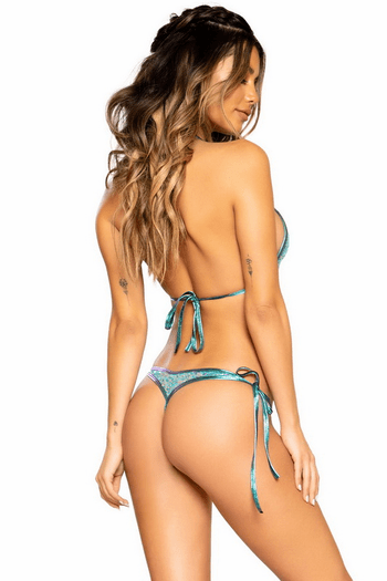 Jade Blue Sequin Tie Set