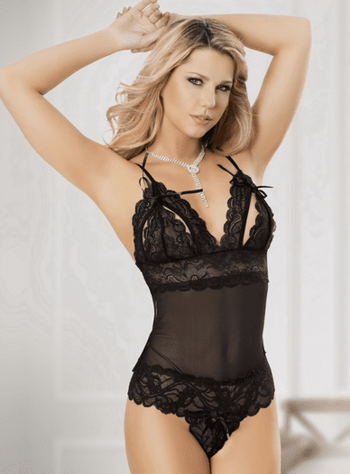 Janette's Sensual Sheer Lace Teddy