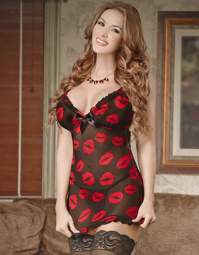 Kiss And Tell Chemise & Thong Set