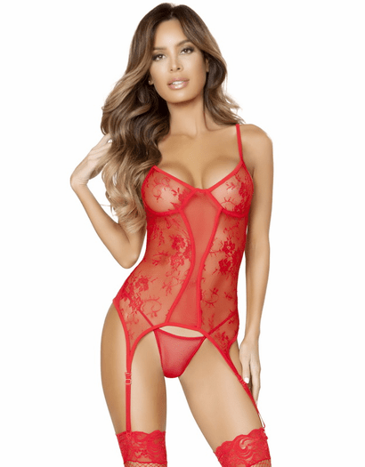 Kiss Me Softly Red Garter Bustier & Thong Set
