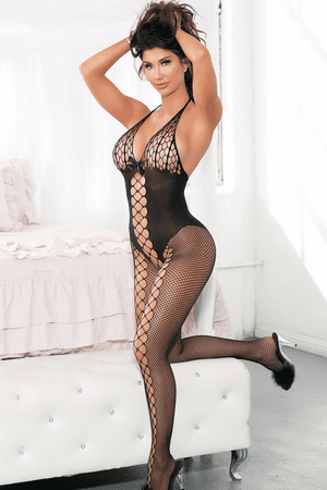 Knit & Fishnet Open Front Bodystocking