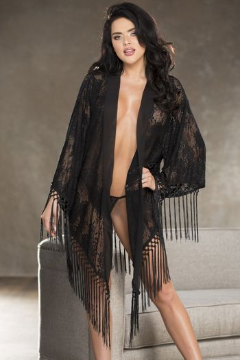 Lace and Knotted Fringe Robe