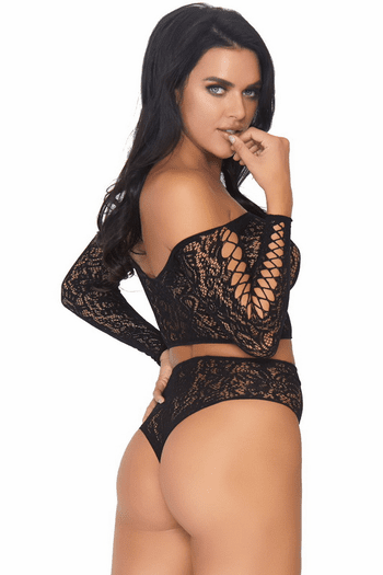 Lace Crop Top & High Waisted Thong Bottom