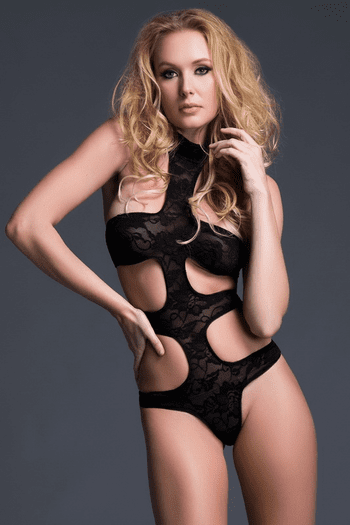 Lace Harness Cut Out Teddy