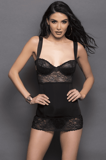 Black Lace Gartered Chemise Set