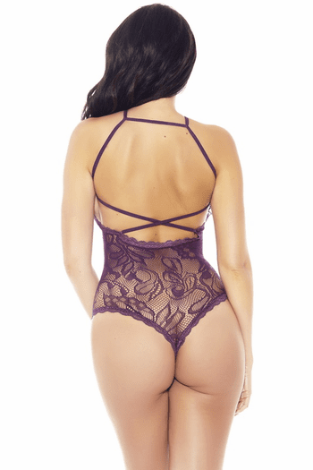 Lace Halter Thong Back Teddy