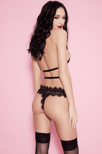 Black Strappy Lace Haltered Teddy
