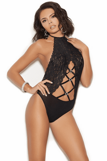 Black Lace Haltered Teddy