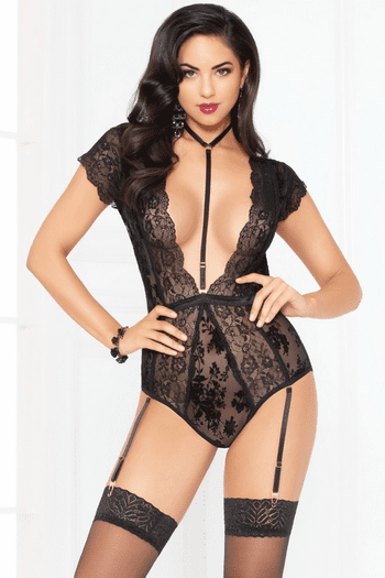 Lace Harness Snap Crotch Teddy
