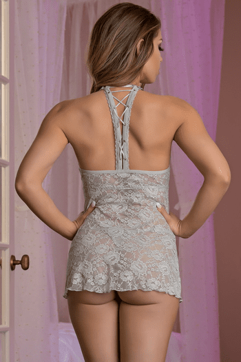 Lace Me Up Grey Babydoll & G-String