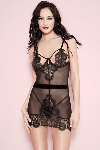 Peek-A-Boo Lace & Mesh Chemise