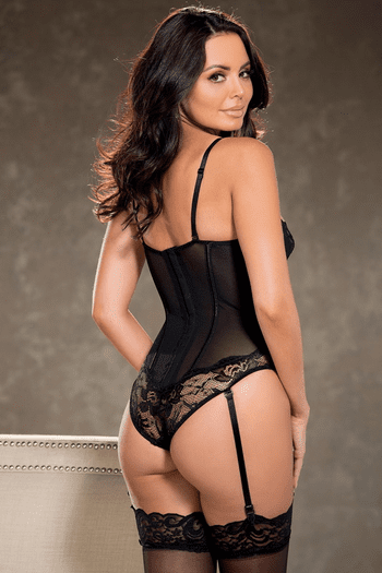 Lace & Mesh Gartered Teddy
