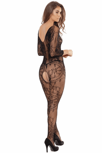Lace Net Crotchless Bodystocking