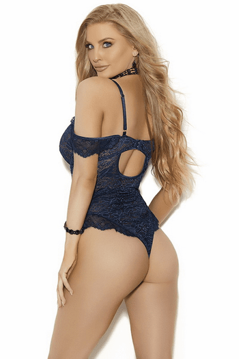 Lace Off Shoulder Midnight Blue Teddy