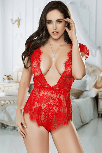 Red Lace Romper Teddy