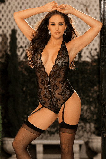 Lace Snap Crotch Teddy & Stockings Set