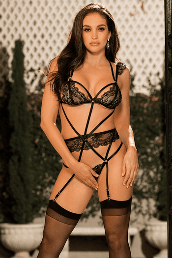 Lace Strappy Teddy & Stockings Set