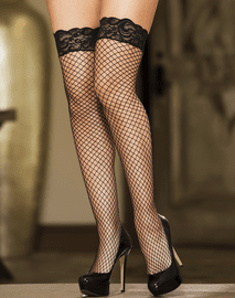 Lace Top Back Seam Fishnet Thigh High Stockings