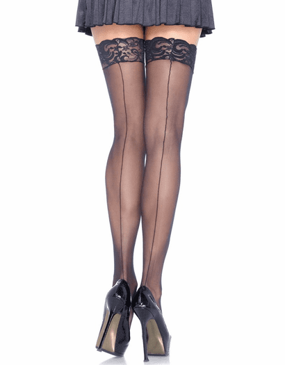 Lace Top Back Seam Sheer Stockings