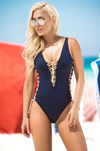 Lace Up Navy Monokini