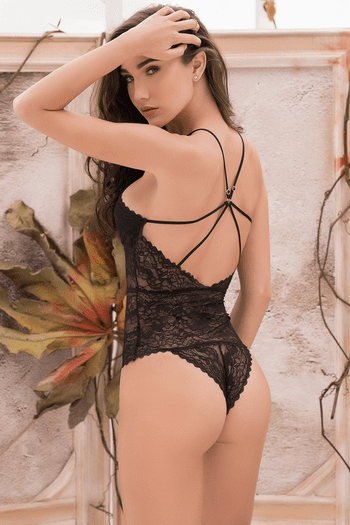Lace Up Black Teddy