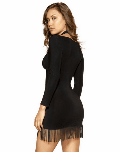 Lace Up Fringe Mini Dress