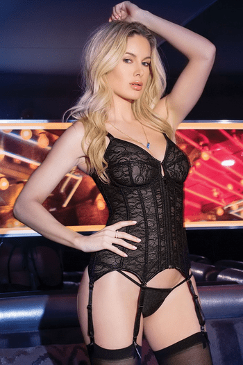 Lace Up Gartered Bustier