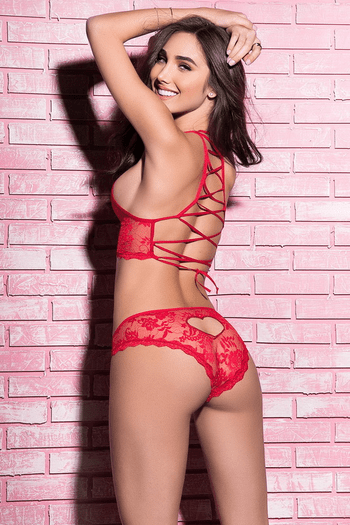 Red Lace Up Halter Bra Set
