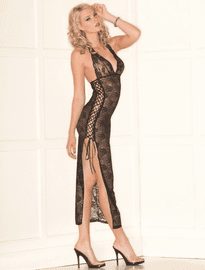 Lace Up Long Gown