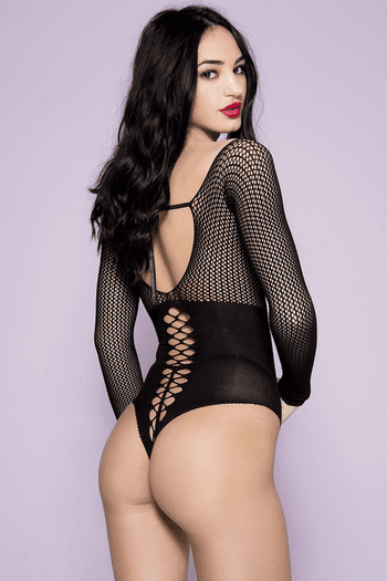 Lace Up Netted Teddy