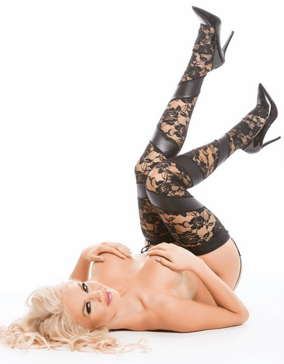Lace & Wet Look Stockings & Thong Set