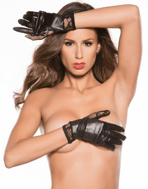 Lace & Wet Look Wrist Length Gloves
