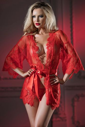 Lacy Belle Red Robe & G-String
