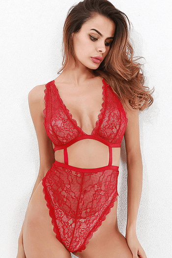 Lacy Red Strappy Teddy