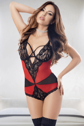 Lady In Red Lace Teddy