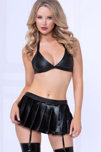 Lame Bra & Gartered Skirt Set