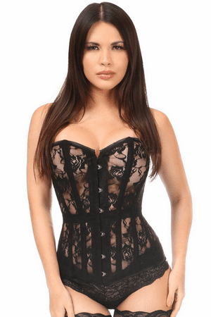 Lavish Black Sheer Lace Over Bust Corset