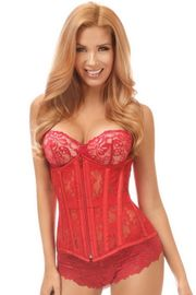 Lavish Red Sheer Lace Underbust Corset
