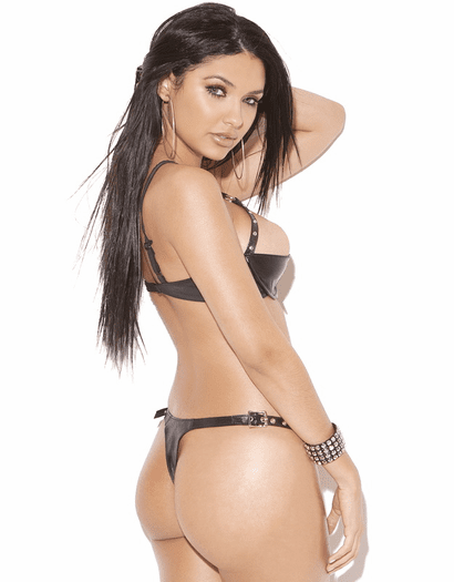 Leather Cut Out Chain & Stud Thong