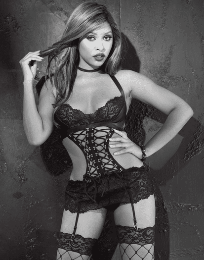 Leather & Lace Garter Chemise & Thong Set