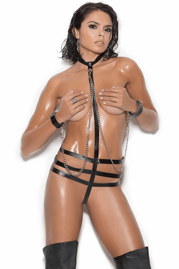 Leather Strappy Teddy