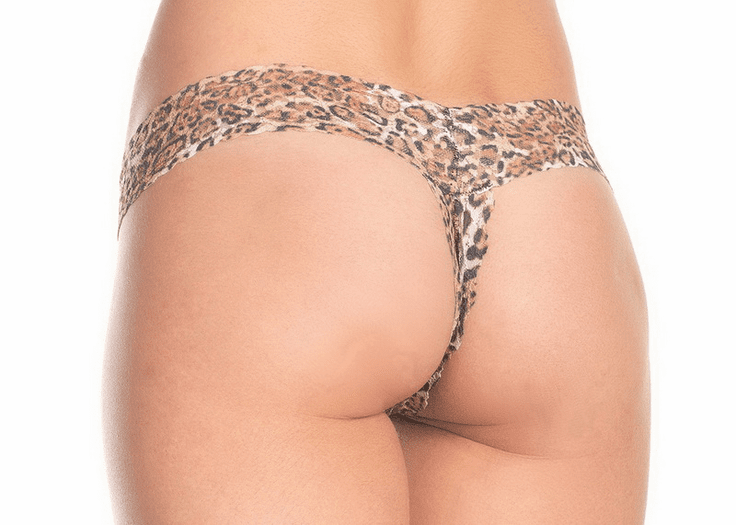 Leopard Crotchless Thong