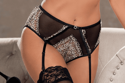Leopard Print Stretch Lace High Waisted Panty