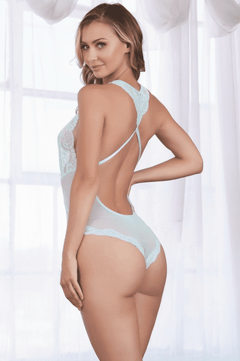 Light Blue Baby Fishnet & Lace Teddy