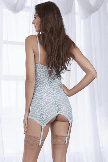 Light Blue Striped Stretch Lace Gartered Chemise